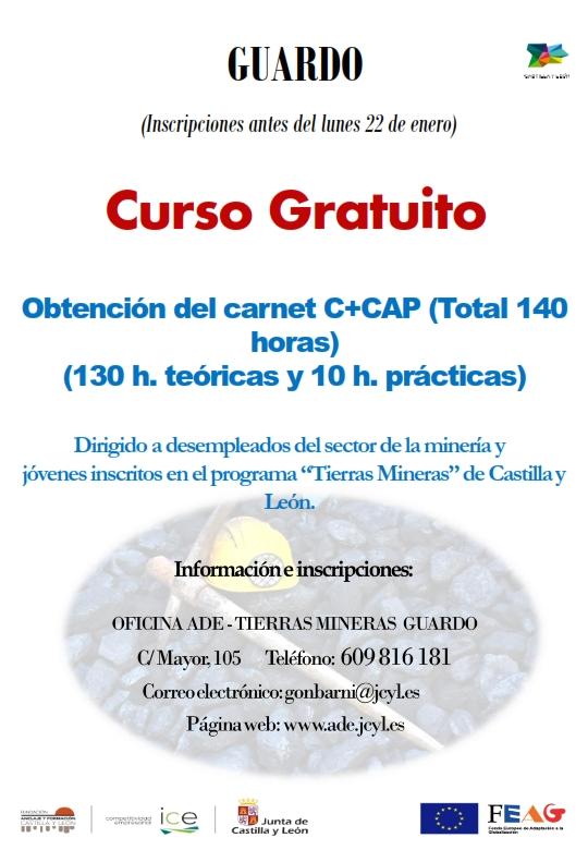 Curso de obtención del carnet C+ CAP inscripciones antes del día 22 de enero de 2018